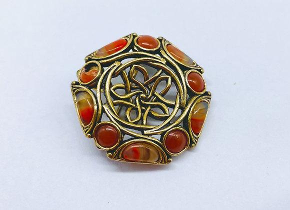 Delightful Antique Scottish Gilt & Agate Brooch C1910