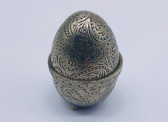 Unusual Pewter Novelty Pincushion Modelled As An Egg