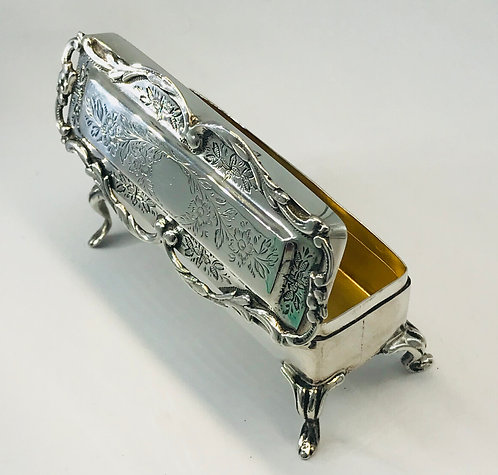 STUNNING ANTIQUE SOLID SILVER RING BOX BIRMINGAM 1906