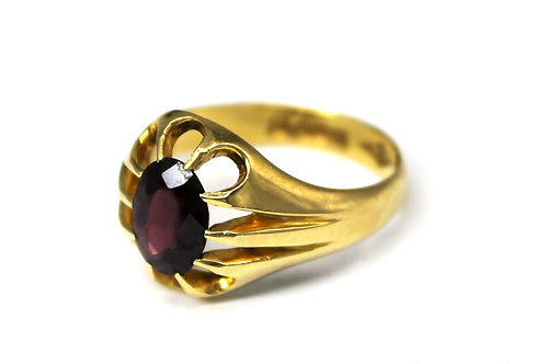 GENTS 18CT GOLD & GARNET RING CHESTER 1909 WILLIAM NEAL