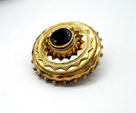 VICTORIAN 9CT ETRUSCAN STYLE MOURNING BROOCH C1870