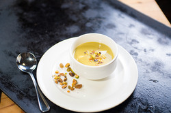 Roasted Asparagus and Pistachio Soup