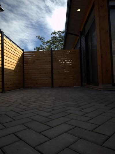 Laneway house - fence & permeable pavers