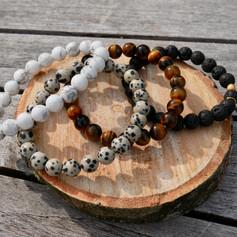 Bracelets 8 mm, Howlite, Jaspe Dalmatien, Oeil de Tigre, Pierre de Lave