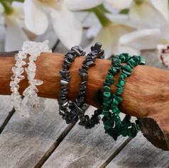 Bracelets Baroques, Cristal de Roche, Hématite et Malachite