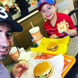 The last thing we do in Texas is a first for bit of us!! Our first _whataburger !! #chanceindallas #