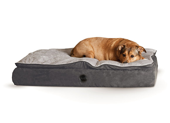 K&H Pet Products Feather Top Ortho Pet Bed Large Black / Gray 40″ x 50″ x 6.5″