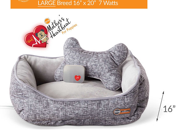K&H Pet Products Mother's Heartbeat Heated Puppy Pet Bed with Bone Pillow Large
