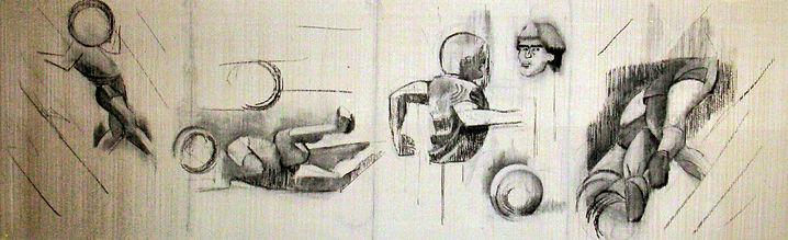 Gol-dibujo a carbonilla-100x350cm-2007 m