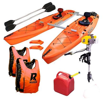 2 Kayaks Rocker Twin + Remo + Butaca + Motor 3,5 Hp