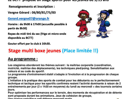 BOXE un sport qui séduit les enfants Le Boxing club Tournon Tain a repris ses activités depuis le 3