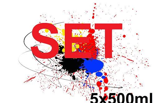 SET 5x500ml - UV LED Drucker Farbe Ink (Soft Typ)