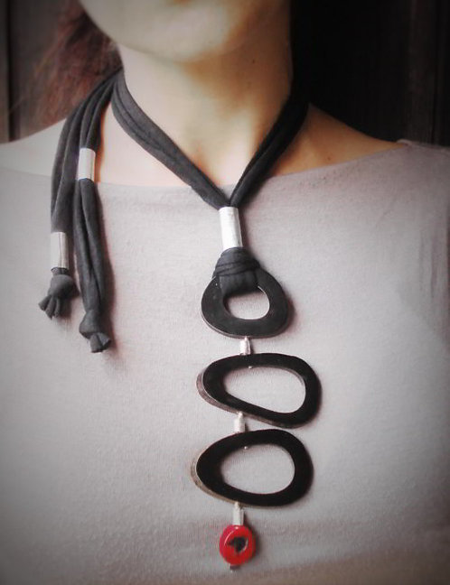 Black statement necklace with a tribal style
