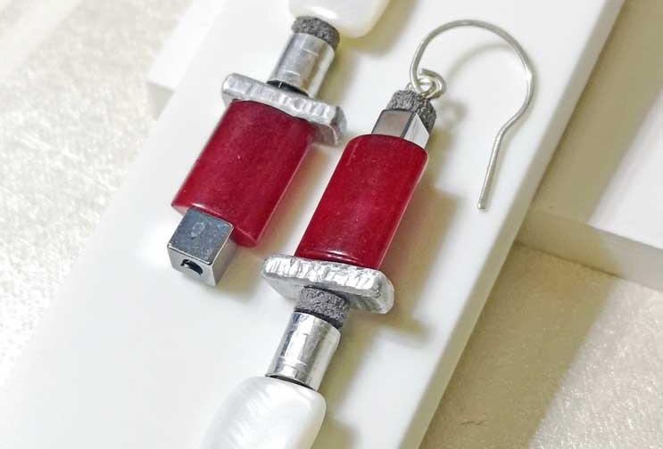 Red Asymetric earrings