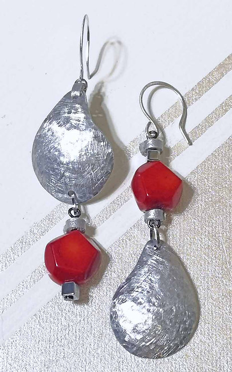 Asymmetric Earrings with Bamboo Corals
