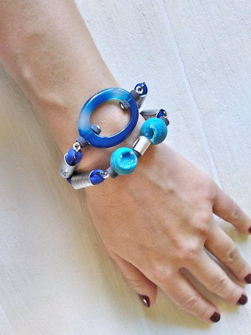 Electric blue textile bracelet, Agate bracelet