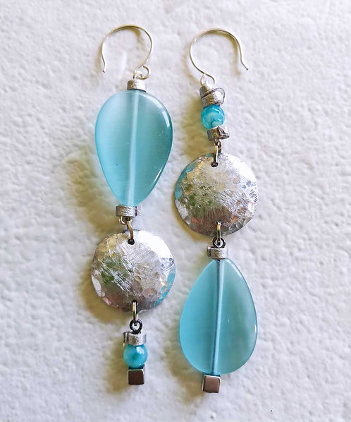 Sea green Asymmetric Earrings