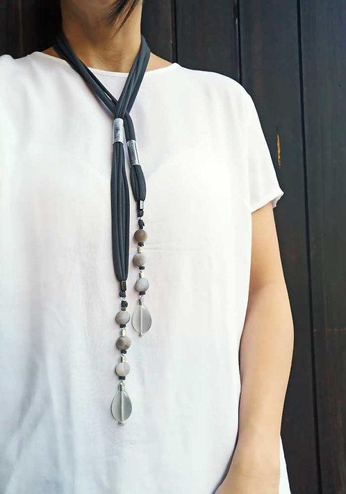 Gray long necklace, versatile necklace