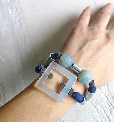 light blue statement agae bracelet