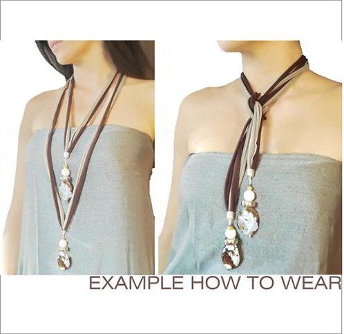 Brown fashion necklace, original wrap necklace