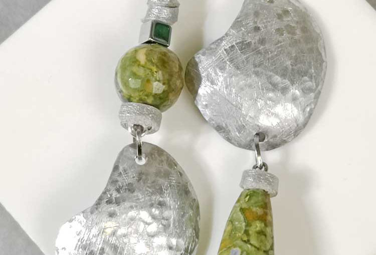 Green Asymmetric Earrings