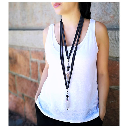 Gray scarf necklace with agate pendant, Versatile necklace