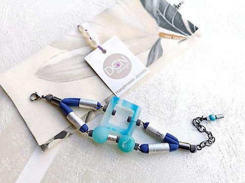 Light blue textile bracelet, Agate bracelet