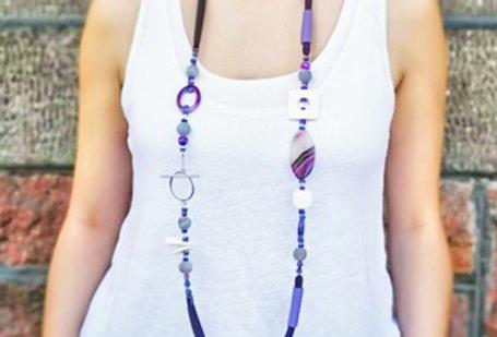 Long purple necklace, statement modern necklace