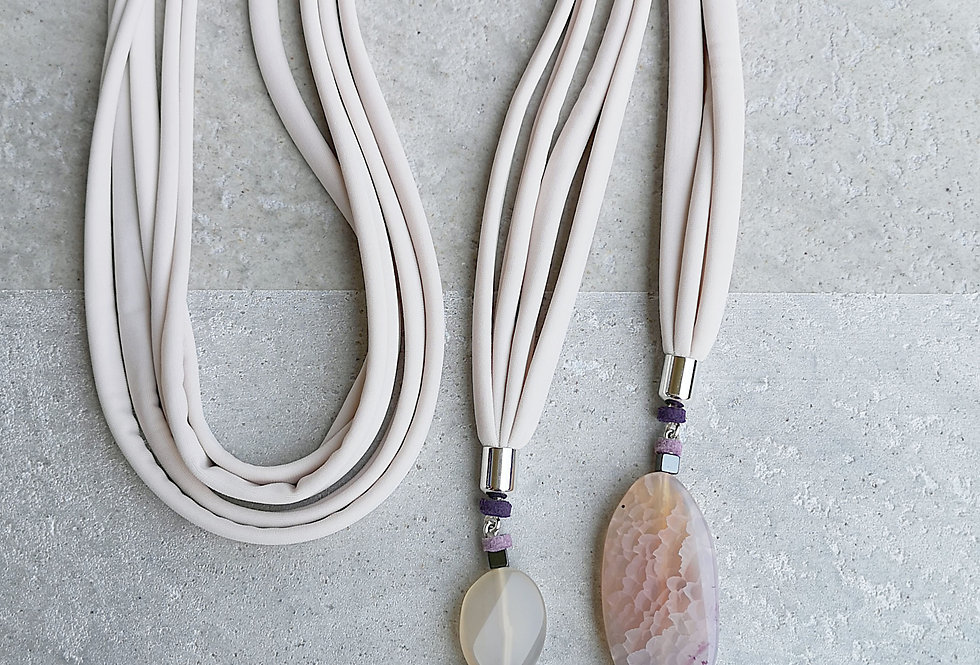 Wrap necklace with Agate pendant, modern boho necklace