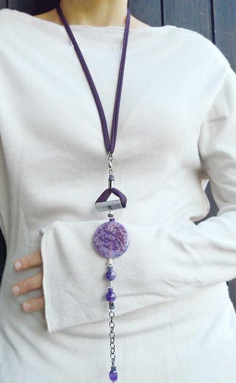 Purple agate bracelet. Versatile bracelet that becomes a necklace