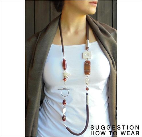 brown design necklace