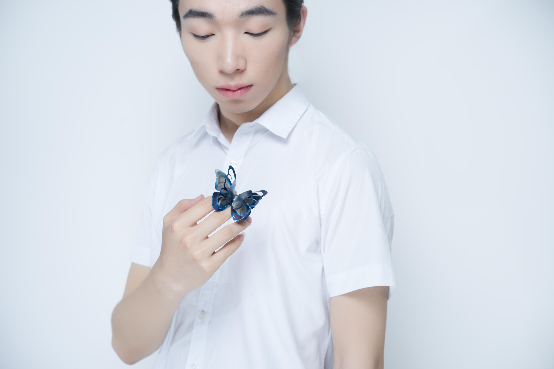 蝴蝶弹簧胸针佩戴图