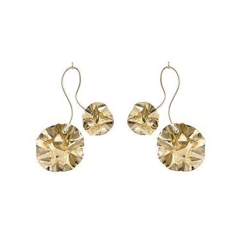 Gold FOLD branch arch earrings