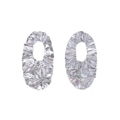 White gold FOLD hoop earrings