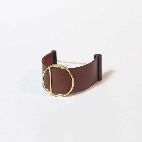 Brown leather bracelet / choker