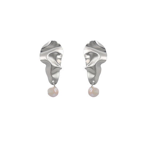 White gold 'Icicle' FOLD earrings with baroque pearls
