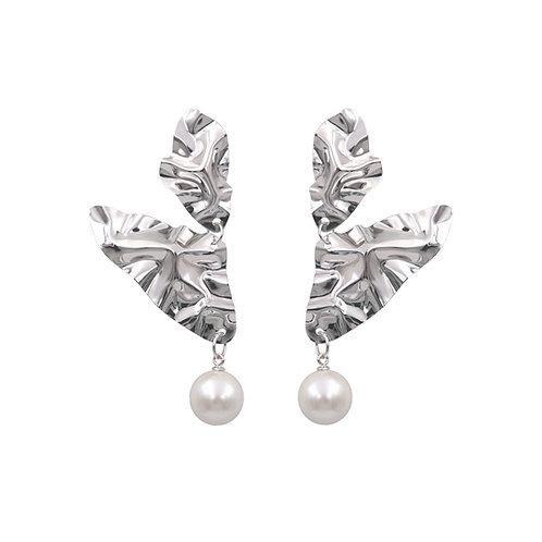 "White gold ""Wings"" FOLD earrings with pearls"