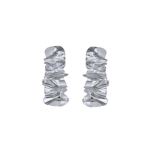 White gold wide strip FOLD earrings