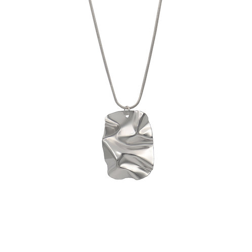 White gold dog tag FOLD pendant necklace