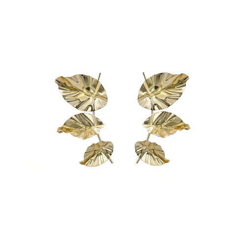 FOLD triple-leaf earrings