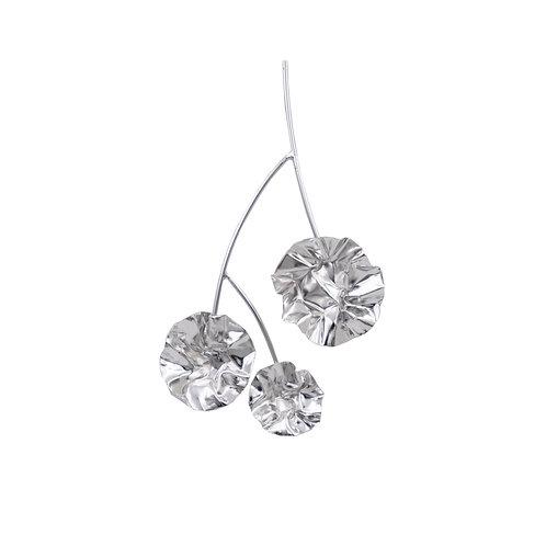 Silver large FOLD branch single earring