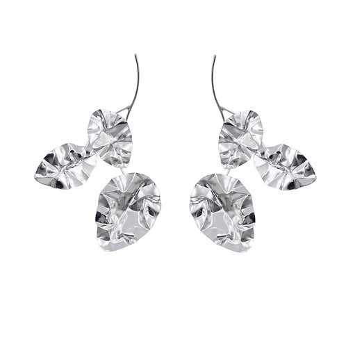 White gold large FOLD triple-leaf-branch earrings