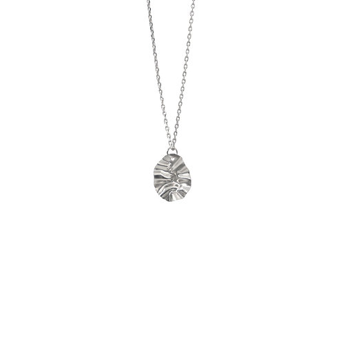 White gold oval disc FOLD pendant necklace