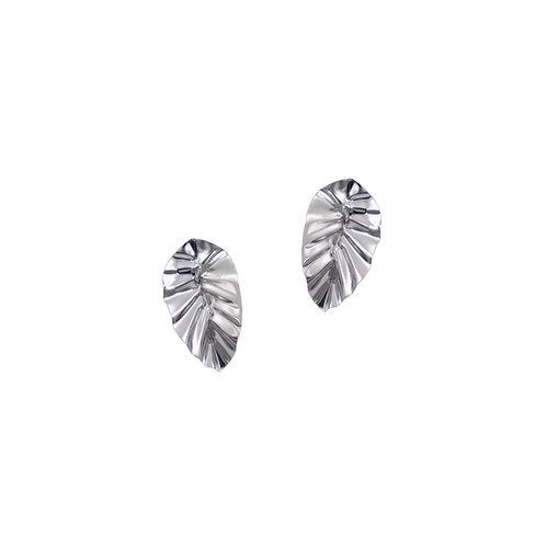 White gold FOLD leaf earrings