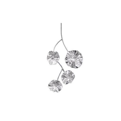 White gold FOLD branch single earring