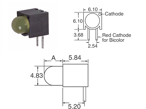 100 Pcs 550-0305F LED Circuit Board Indicator YELLOW RIGHT ANGLE Diffused 2.1V