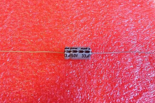 5 PCS CAP ALUM ELEC 33UF 33MF 50V Axial (Replacing 40V 35V 25V 16V 10V 6.3V )