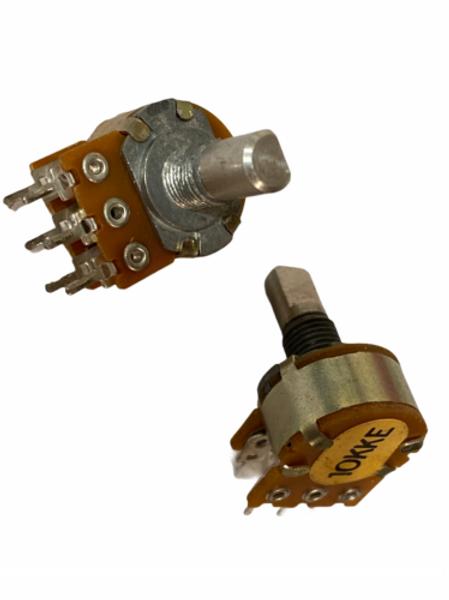 1 PCs Dual 10K Ohm Linear Audio Potentiometer POT 2 Gang D-Shaft