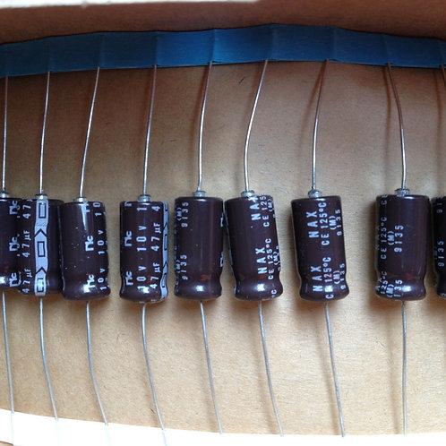 10 PCS NIPPON CAP ALUM ELEC 47UF 47MF 10V 20% AXIAL