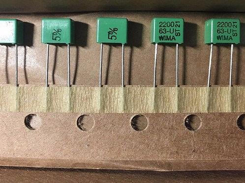 10 PCs WIMA Film Capacitor 63V 2200pF 2.2NF 2N2 222J CAP ORIGINAL OEM
